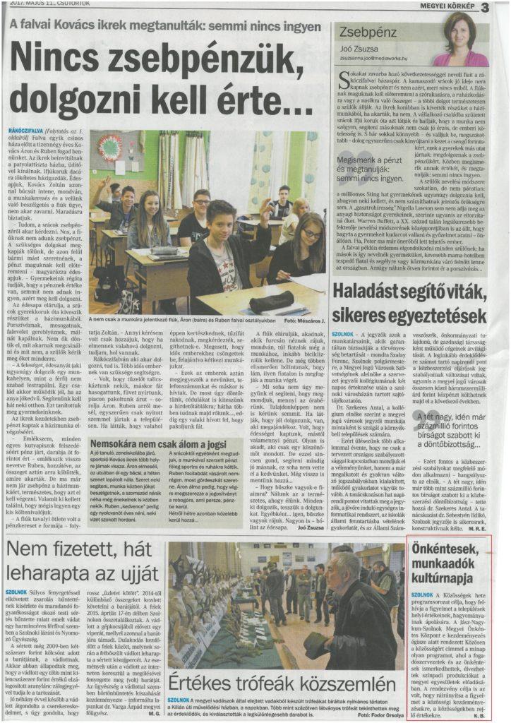 2017.05.11. Önkéntesek, munkaadók kultúrnapja Néplap