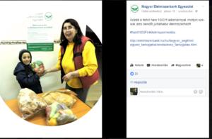 2017.06.19. - Magyar Élemiszerbank Egyesület (Facebook oldaláról) élelmiszeradománnyal való segítés